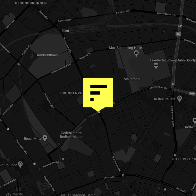 A map of the location of Factory Berlin Mitte