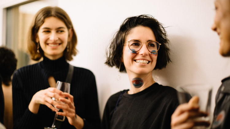 Resident artists in conversation at a Factory Berlin event.