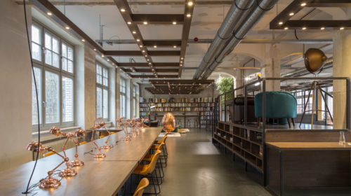 An interior photo of the Factory Berlin library in Factory Görlitzer Park.