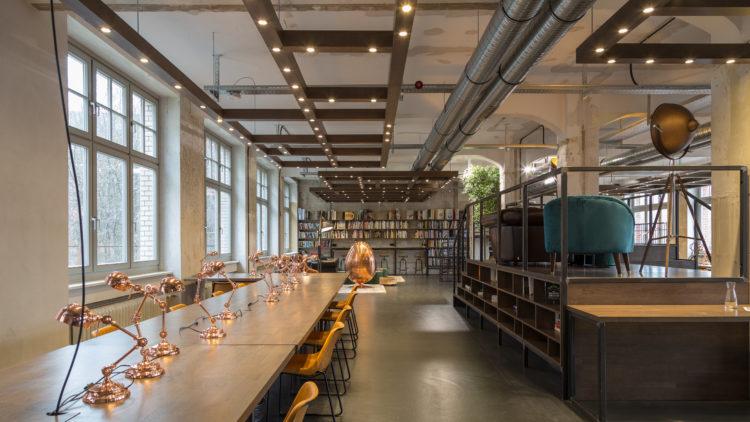 An interior photo of the Factory Berlin library in Factory Görlitzer Park.